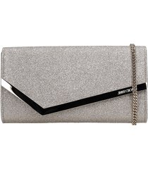 jimmy choo emmei dgz clutch in platinum leather