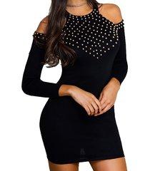 manga larga con hombros descubiertos y diamantes de imitación negros vestido