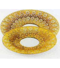 conjunto de 2 fruteiras douradas c/ fundo de espelho - multicolorido - dafiti