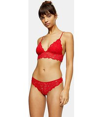 red leaf lace thong - red