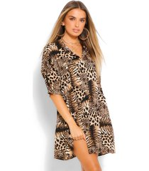 animal print button through 3/4 smock dress, brown