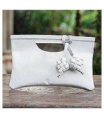 leather clutch, 'ketupat in alabaster' (indonesia)