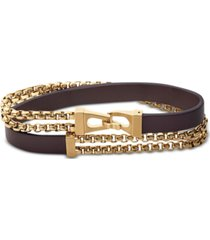 bulova men's double-chain & leather wrap bracelet in gold-tone stainless steel