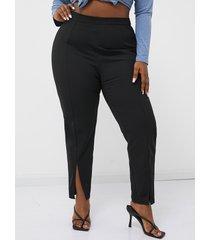 yoins basics plus talla slit diseño negro pantalones