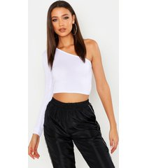 tall one shoulder crop top, white