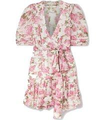 arlo belted ruffled floral-print silk-georgette mini dress