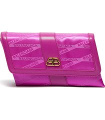 'shift' leather trim monogram jacquard wallet on strap