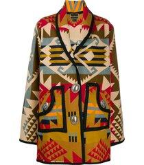 jessie western concho oversized printed coat - neutrals