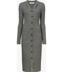 proenza schouler white label micro stripe rib knit dress black/ecru l