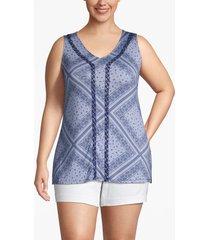 lane bryant women's applique-trim v-neck tank 22/24 bandana blue