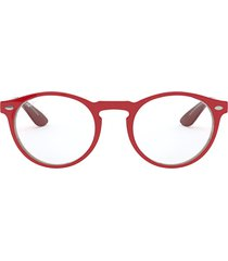 ray-ban ray-ban rx5283 red on top trasparent grey glasses