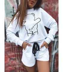 komplet szorty-bluza white miś besquar