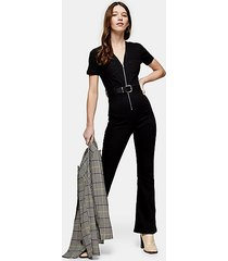 black stretch denim flared joni jumpsuit - black