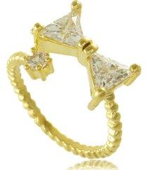 anel de  laço com ponto de luz em zircônia 3rs semijoias dourado