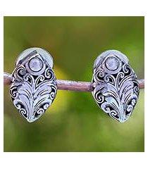 sterling silver drop earrings, 'pointed elegance' (indonesia)