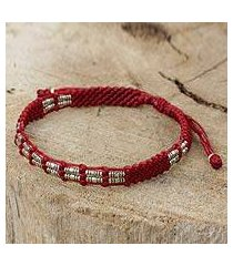 silver beaded cord bracelet, 'affinity in red' (thailand)