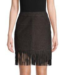 frame denim women's fringe overlay suede skirt - noir - size 23 (00)