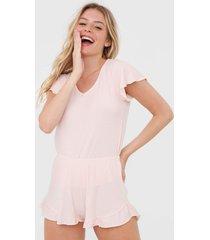short-doll cor com amor listrado rosa - rosa - feminino - viscose - dafiti