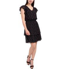 msk floral-print v-neck flutter-sleeve smocked-waist dress