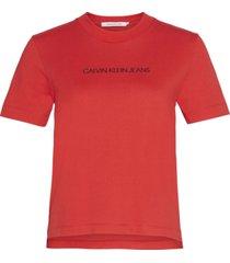 camiseta manga corta shrunken institutional logo t-shirt rojo calvin klein