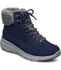 womens on the go glacial ultra - woodlands shoes boots ankle boots ankle boot - flat blå skechers