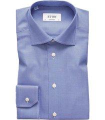eton overhemd contemporary fit blauw texture twill