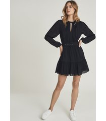 reiss vienna - textured long sleeved mini dress in navy, womens, size 14