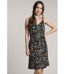 vestido feminino curto estampado floral com botões alças finas preto