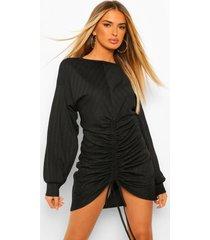 geribbelde midi jurk met vleermuismouwen, black