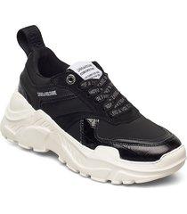 future embossed croco + mix neoprene sneakers skor svart zadig & voltaire