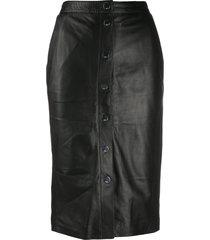 karl lagerfeld high-rise leather skirt - black