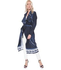 kimono lanã§a perfume alongado estampado azul-marinho - azul marinho - feminino - poliã©ster - dafiti