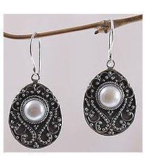 cultured mabe pearl dangle earrings, 'moon curves' (indonesia)