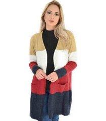 casaco livora longo tricot bolsos feminina