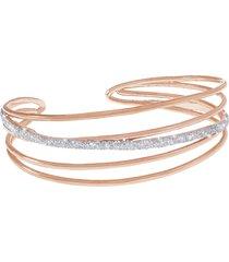 bracciale bangle small in ottone dorato rosé e glitter per donna