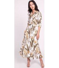 długa sukienka, suk171 liście ecru
