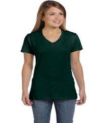 hanes women's nano-t v-neck t-shirt, forest green, xl