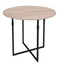 mesa de jantar redonda liz carvalho e preta 90 cm