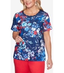 alfred dunner women's missy anchor's away abstract floral top