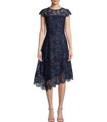 asymmetrical lace midi dress