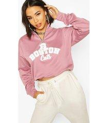 graphic zip high neck crop sweatshirt, rose