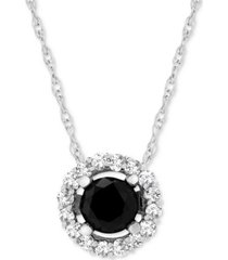"""wrapped in love diamond halo 18"""" pendant necklace (1 ct. t.w.) in 14k white gold, created for macy's"""