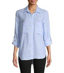 pure navy women's long-sleeve linen shirt - chambray - size s
