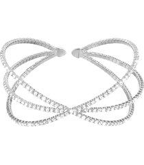 bracciale bangle big in metallo rodiato e cristalli per donna