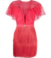 elisabetta franchi fringe-skirt lace minidress - red