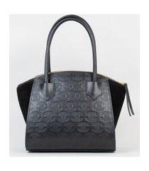 bolsa tote bag couro recorte camurça preto cbk