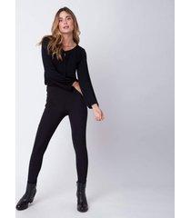 calça legging recortes pesponto gg incolor