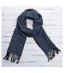 men's 100% alpaca scarf, 'lake arapa night' (peru)