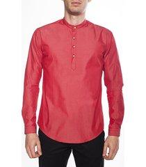camisa manga larga tailored fit frank pierce rojo en cera (pl1504)- rojo