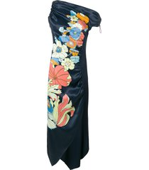 peter pilotto one-shoulder floral dress - blue